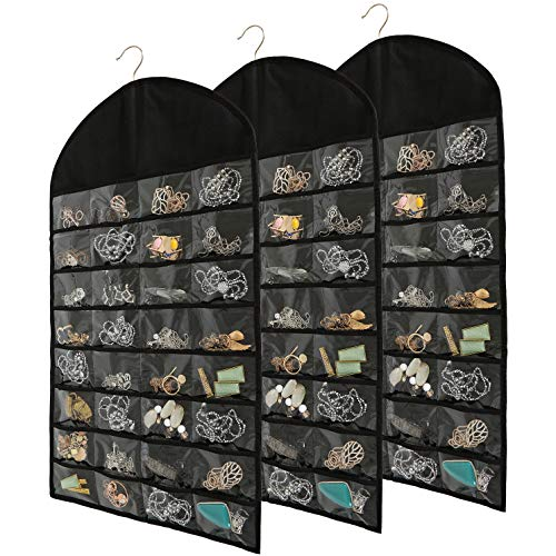 Foraineam 3 Pack Hanging Jewelry Organizer 32 Pockets 18 Hook and Loops Necklace Holder Earrings Bracelet Ring Display Storage Bag