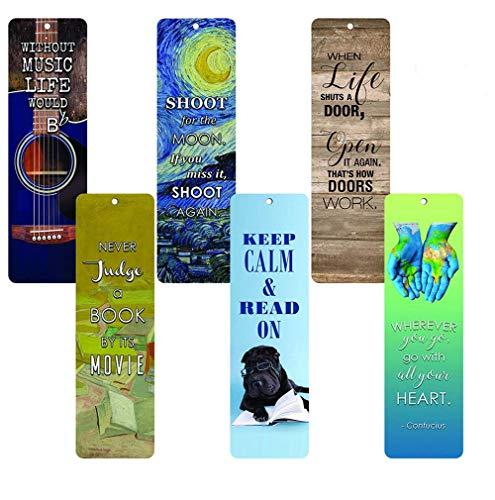 Creanoso Inspirational Bookmarks for Books (12-Pack) - Bookmarker for Men Women Teens Boy Girls Kids- Educational Reading Bookmarks - Motivational Quotes - Stocking Stuffers