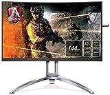 AOC AGON AG273QCX 68 cm (27 Zoll) Curved Monitor (HDMI, DisplayPort, USB Hub, FreeSync2, 1ms Reaktionszeit, HDR 400, 2560 x 1440, 144Hz) schwarz/rot