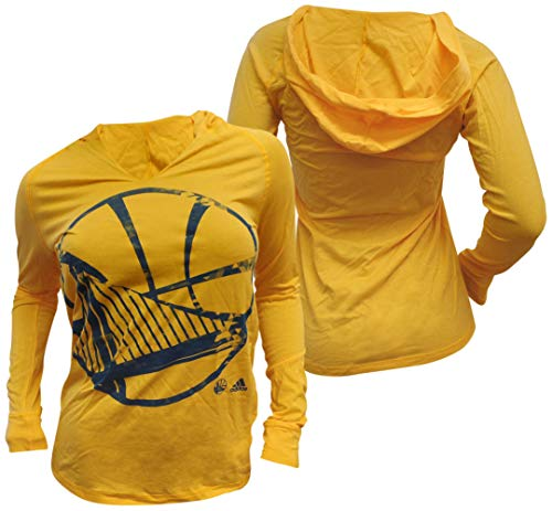 adidas Golden State Warriors para Mujer Oro Grande energía Split Cuello Manga Larga con Capucha Camiseta, Mujer, Dorado