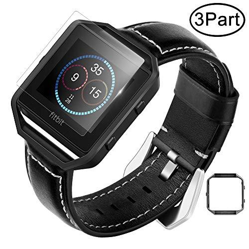 Fotover Fitbit Blaze Armband Lederband,Verstellbarer Ersatz Sportarmband Armband mit Metallrahmen und Displayschutzfolie Zubehör für Fitbit Blaze Smart Fitness Watch,Schwarz