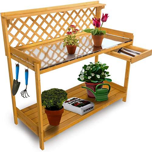 nxtbuy XXL Pflanztisch mit verzinkter Metall Arbeitsplatte 110x50 cm - wetterfester Gartentisch aus...