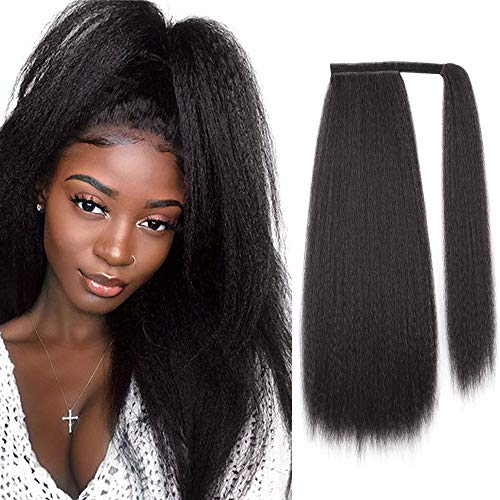 Isaic Kinky Straight Ponytail Extension Wrap Around Ponytail Clip in Hairpiece Magic Paste Synthetic Long Yaki Straight Ponytail Heat Resistant 24 Inch (1B#)