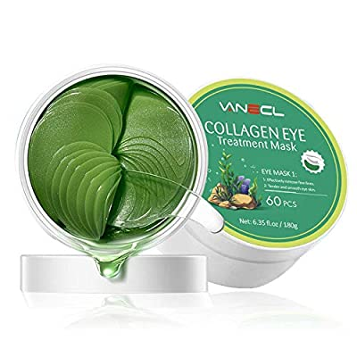 Under Eye Mask - 24K Gold Collagen Under Eye Patches for Dark Circles/Wrinkles/Puffy Eyes/Wrinkles/Bags Under Eyes, Hydrated Eye Treatment Mask (60 Pairs) (30 Pairs, Green) from vanecl