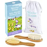 All-Natural Baby Hair Brush Set by Yellodoor | Set of Two Wooden Brushes in Presentation Gift Box with Cotton...