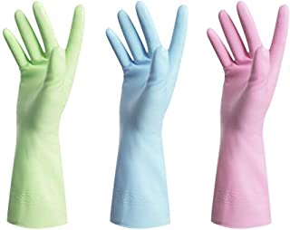 Rubber Gloves-Latex Free Kitchen Cleaning Gloves Household waterproof dishwashing Large(3-Pack)
