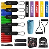 Whatafit Resistance Bands Set (17pcs), Exercise Bands with Door Anchor, Handles, Carry Bag, Legs Ankle Straps for Resistance Training-Free Matching Towel and 5 Resistance Loop Bands Include