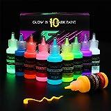 Magicfly Glow in The Dark Farben Set, 10 Farben Fluoreszierende Acrylfarbe Leuchtfarbe, Farbe für Glow Effekt im Dunkeln, Schwarzlicht Farbe für Malerei, Dekoration, Graffiti oder Basteln, 10 X20 ml