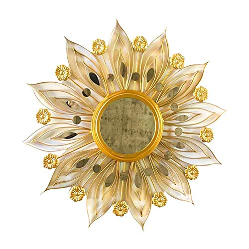 PIVFEDQX Espejo de Pared Sunburst Espejo de Hoja de Oro Espejo Hecho a Mano de Princesa Sol para Pared Decoración de Arte única