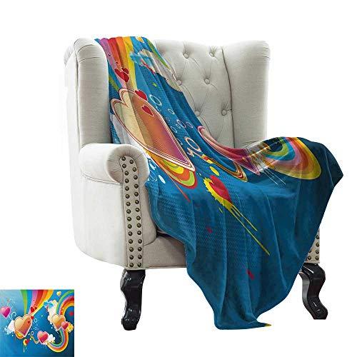 BelleAckerman - Colcha para cama y sofá (70 x 90 cm), diseño de arcoíris con forma de corazón