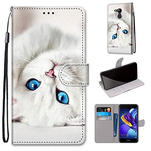SATURCASE Huawei Honor 6C Pro Hülle, Schön PU Lederhülle Magnetverschluss Brieftasche Standfunktion Handschlaufe Schutzhülle Handy Tasche Hülle für Huawei Honor 6C Pro/Honor V9 Play (DK-3)