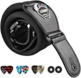 LEKATO Memory Foam Padded Guitar Strap with Genuine Leather Ends 3''Wide Shoulder Padded Straps Adjustable Length from 45' to 55' for Bass Electric Guitars with 6 Picks 2 Strap Locks (Black-Regular)