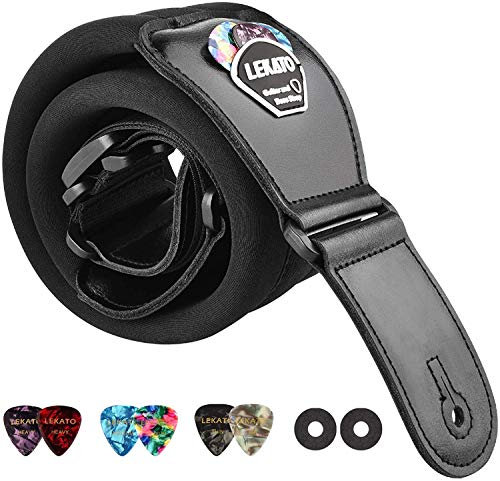 LEKATO Memory Foam Padded Guitar Strap with Genuine Leather Ends Adjustable...