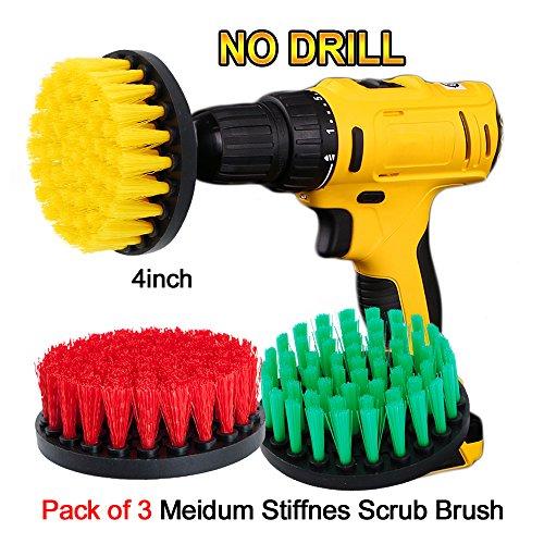 OxoxO Drill Brush - 4 Zoll Medium Stuffness Power Schrubberpinsel Bohraufsatz zur Reinigung von Duschen, Wannen, Badezimmer, Fliesen, Fugen, Teppich, Reifen, Boote