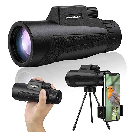 Moocuca Telescopio Monocular, 12 x 50 HD Impermeable y Antivaho Monoculares, Monoculo Telescopio portatil con Soporte y Clip para Observación de Aves Caza Conciertos Viaje
