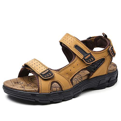 ZTT Hombres Sandalias, Sandalias De Cuero, Yardas Grandes Sandalias, Plantas del Pie Gruesas Planas De Los Zapatos De Los Hombres 38-45,Marrón,38