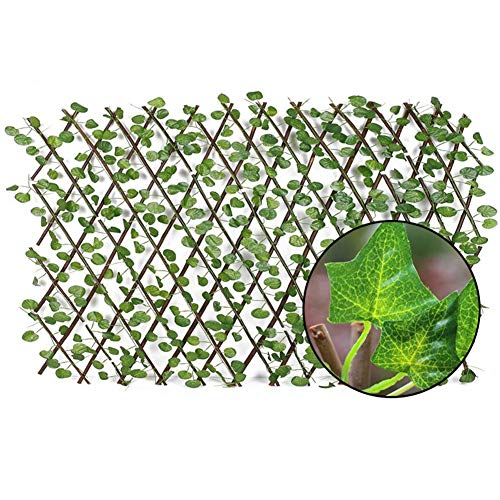 heirao4072 Expanding Trellis Fence, Faux Ivy Privacy Fence Screen With Expand Retractable Panel-Artificial Leaf Vine Hedge, Backyard Home Decor Greenery Walls
