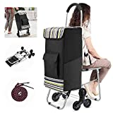 Klvied Folding Shopping Cart for Groceries, Heavy Duty Stair Climber Cart with Tri-Wheel, Metal Utility Trolley Dolly with Foldable Chair, Bigger Waterproof Shopping Bag, Adjustable Elastic Rope