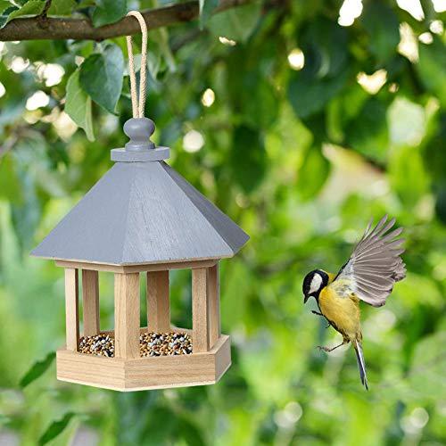 Funight Mangeoire à Oiseaux Panorama, Conteneur De Nourriture D'arachide pour Mangeoire à Oiseaux Suspendue en Bois pour Hexagone De Jardin Extérieur avec Outil d'alimentation De Toit Bleu