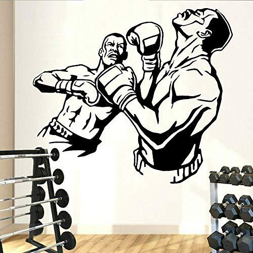 wZUN Fight Boxing Wall Decal Knockout Sparring Gimnasio Deportes Vinilo Etiqueta de la Pared Decoración del hogar 42X37cm
