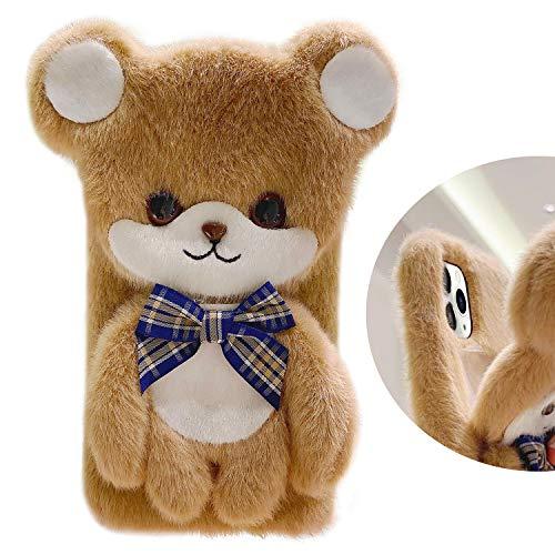 "Guppy for iPhone 12 Mini Women Girls 3D Plush Bear Case, Furry Fur Cartoon Cute Fluffy Fuzzy Bow Doll Warm Smooth Soft Hair Anti-Fall Protective Cover Case for iPhone 12 Mini 5.4"" Brown"