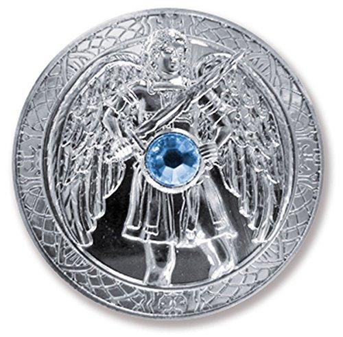 Talisman beschermengel engeltaler erzengel Michael, Ø 27 mm zilverkleurig met Swarovski Elements, geluksbrenger, geluksmunt