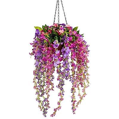 Mixiflor Artificial Wisteria Hanging Flower, Hanging Basket Silk Flower Wisteria Garland Vine for Home Outdoor Decoration