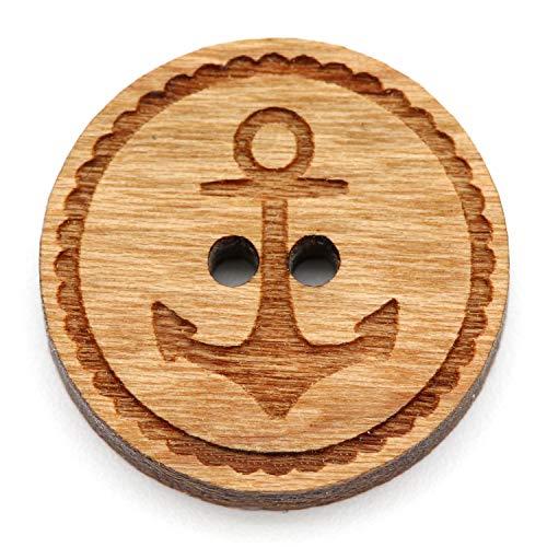 NaturSchatulle Holzknöpfe Gravur Motiv Anker 12-30mm I 25 Stück Kirsche 2 Loch Knöpfe Holz DIY Basteln Nähen Schmuckherstellung Annähen Rund 12mm