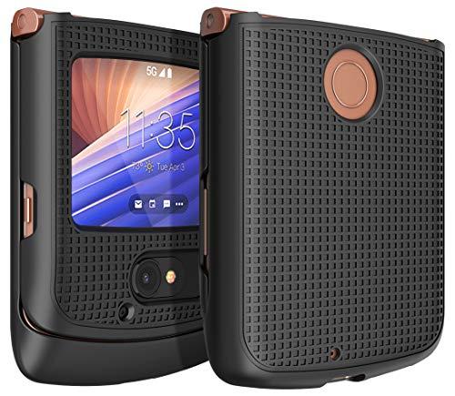 Schutzhülle für Motorola RAZR 5G Flip Phone, Nakedcellphone [Schwarz] Schutzhülle zum Aufstecken Hartschale [Gitterstruktur] für Motorola Moto RAZR 5G Flip Phone (2020) XT2071