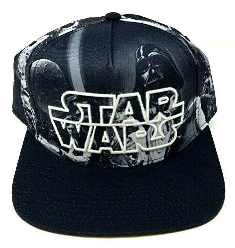 Star Wars Movie Mens Black and White Sublimated Print Hat