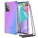 ALAMO Funda de Degradado Vistoso para el Samsung Galaxy A32 4G (Not for 5G Edition), Carcasa de Translúcido TPU Silicona con Antigolpes Bumper [ Protector de Pantalla Cristal Templado ] - Azul-Morado