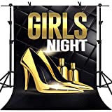 Carnival Night Background Golden Dance Shoes Perfume Girl Night Theme Party Photo Studio Booth Background (6x9ft)