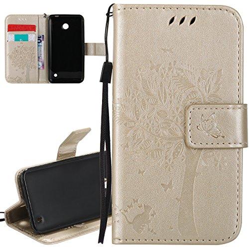 ISAKEN Compatibile con Nokia Lumia 635 Custodia, Libro Flip Cover Portafoglio Wallet Case Albero Design in Pelle PU Protezione Caso con Supporto di Stand/Carte Slot/Chiusura - Gold