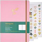 Ottergami - Cuaderno de puntos balas (tamaño grande, tamaño B5, papel de 180 g/m²), diseño botánico...