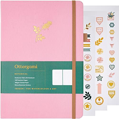 Ottergami - Cuaderno de puntos balas (tamaño grande, tamaño B5, papel de 180 g/m²), diseño botánico