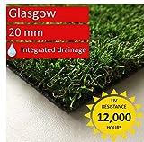 Steffensmeier Kunstrasen Rasenteppich Glasgow Meterware | wasserdurchlässig UV-Garantie für Balkon, Terrasse, Garten | Grün, Größe: 100x100 cm
