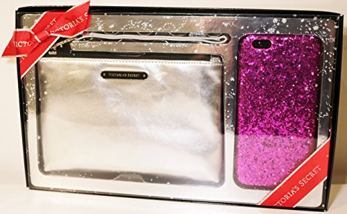 Victoria's Secret Party Perfect Duo Set Wristlet and Hard Case iPhone 6 Silver/Hot Pink Glitter