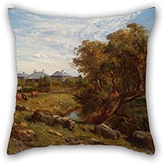 Cushion Cases Of Oil Painting Louis Buvelot - Terrinallum House And Emu Creek From Near The Lower Garden Gate For Father Valentine Study Room Boys Office Couch 18 X 18 Inches / 45 By 45 Cm(double