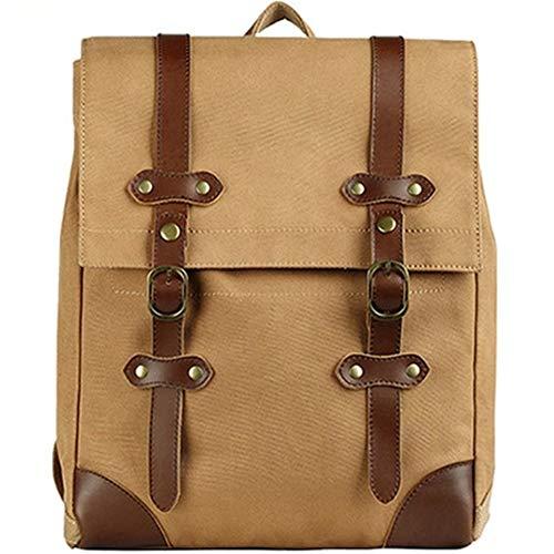XY-men's bag Leder Gewaschenem Leinen Tag Backpacking Laptop-Rucksack-Beutel mit echtem Leder Mode (Color : Brown, Size : S)