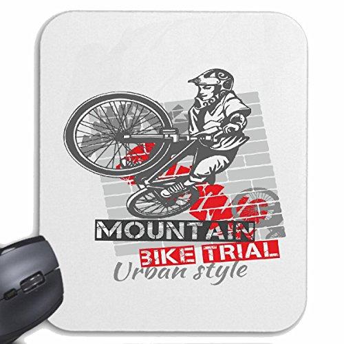 Reifen-Markt Mousepad MOUNTAIN fiets MOUNTAIN BICYCLE REPAIR fietssport fiets TOUR fietsrit SHIRT voor uw laptop, notebook of PC internet (met Windows Linux, etc.) wit