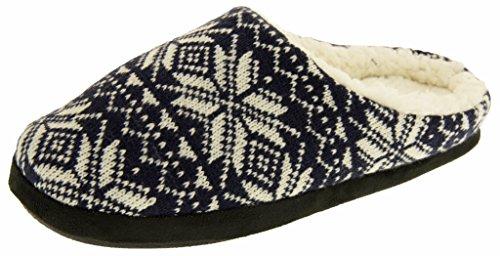 Footwear Studio Doublées De Fausse Fourrure Mules Pantoufles Tricotées Hommes EU 41-42 Bleu Marin