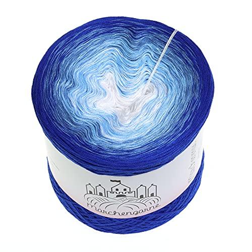 LiLu´s Märchengarne (69,00€/kg) Farbverlaufsgarn Blaue Augen 200g - 1000m - Enzian außen - 3 Fädig Bobbel Strickwolle Häkeln