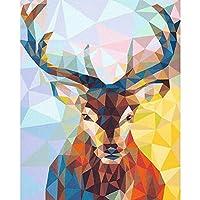 ダイヤモンドペインティングキット、リラクゼーションや家の壁の装飾に最適なDIY 5Dフルドリルアート(鹿、15.7x19.8インチ)