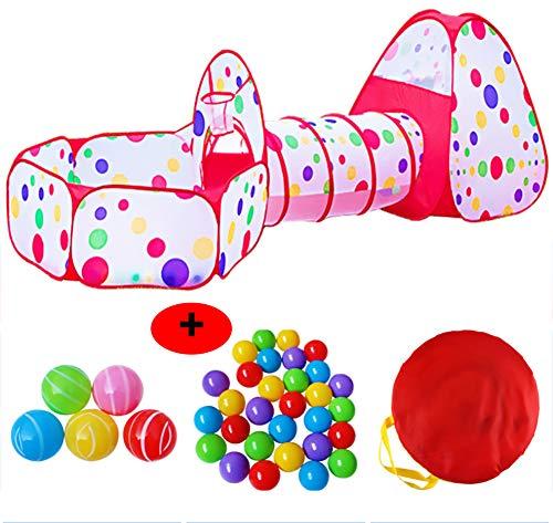 Kinderen spelen tent en tunnel 3 in 1 pop-up tent peuters kruip tunnel speelhuisje ballenbak vouwtent met rits opbergtas baby speelgoed cadeaus voor kinderen meisjes jongens,Tent +50 Balls