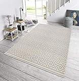 bougari In- und Outdoor Teppich Raute Grau Creme, 80x200 cm - 5