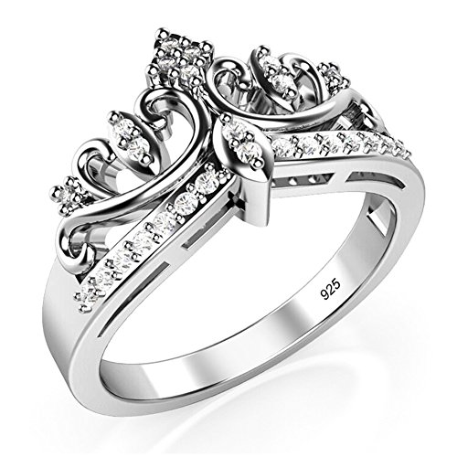 Metal Factory Sz 6 Sterling Silver Cubic Zirconia Princess Crown Tiara CZ Band Ring
