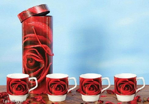 Geschenkset 4 Becher Rote Rose Porzellan stapelbar