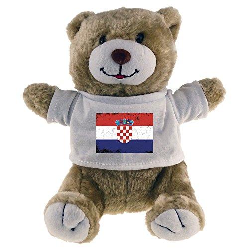Multifanshop Kuscheltier Bär Fahne Retro Kroatien beige - Stofftier Püschtier Schmusetier