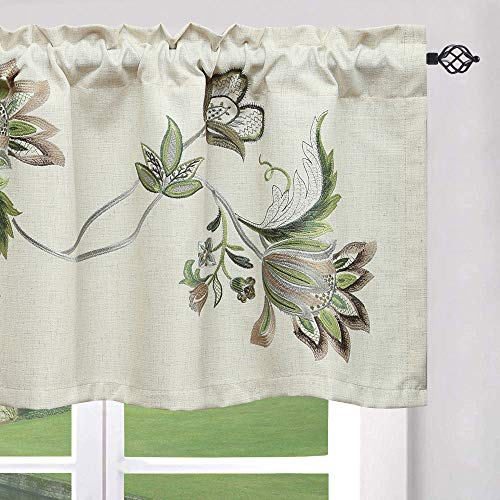 VOGOL Floral Blossoming Valances for Windows, Vintage Flower Embroidered Kitchen Valances Rod Pocket Window Valance for Bedroom 18'' Long, One Panel