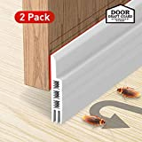 Holikme 2 Pack Door Draft Stopper Under Door Draft Blocker Insulator Door Sweep Weather Stripping Noise Stopper Strong Adhesive 37' Length